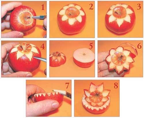 Как сделать розочку на яблоке